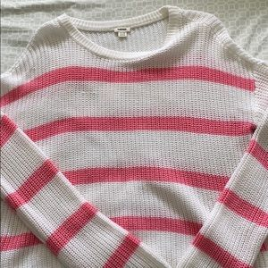 White with pink stripes top